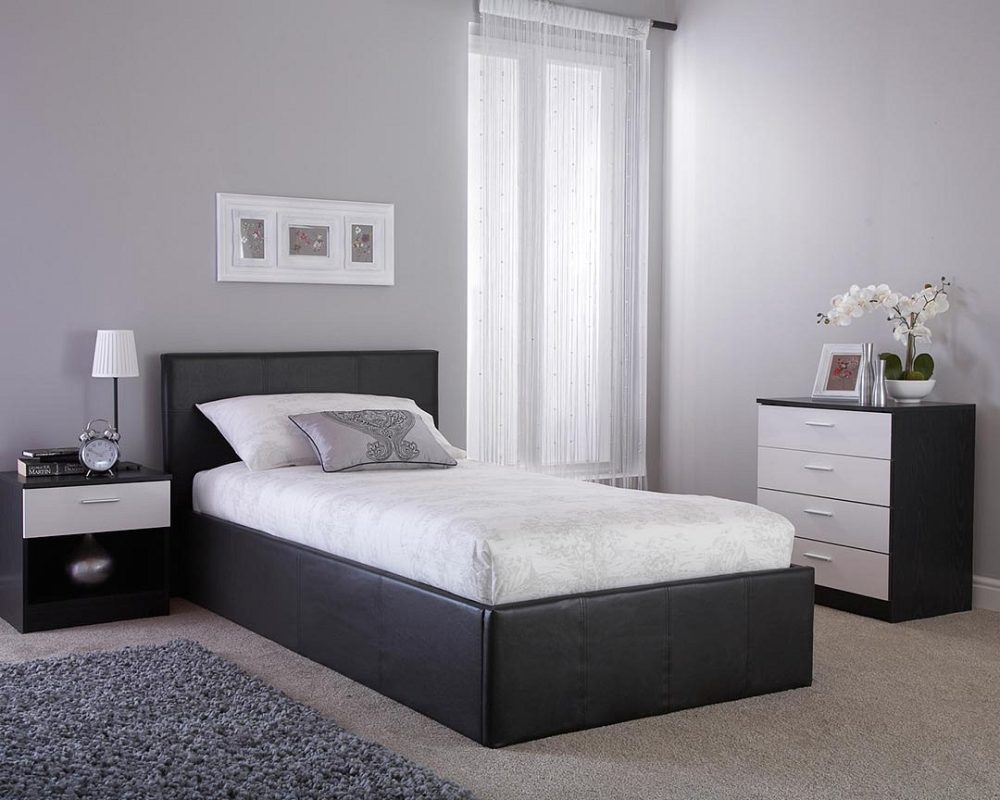 Surprising Black Faux Leather Ottoman Side Lift Bed Frame 4 Sizes Available Caraccident5 Cool Chair Designs And Ideas Caraccident5Info