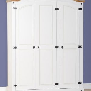 Corona White / Distressed Pine 3 Door Wardrobe