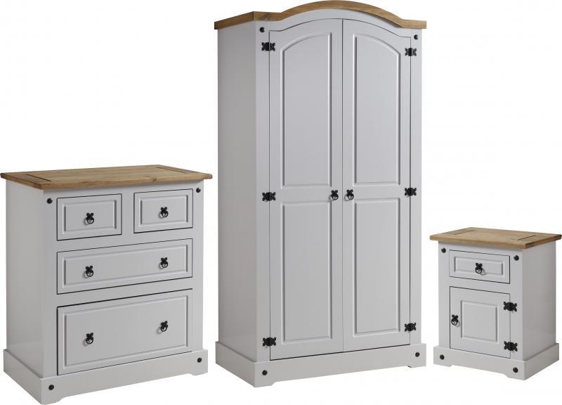 Corona grey distressed pine bedroom set one stop furniture shop for Distressed pine bedroom furniture