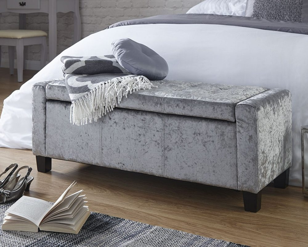 Ottomans Ellis Dark Grey Velvet Finish Storage Chest: Verona Crushed Velvet Ottoman Storage Box