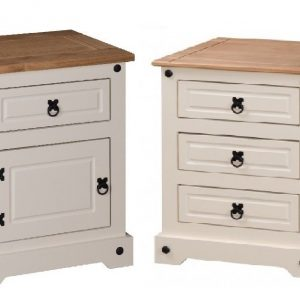 Corona White / Distressed Pine Bedside - 4 Styles Available