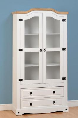 Corona White / Distressed Pine Glass Display Unit -2 Sizes Available *BRAND NEW*