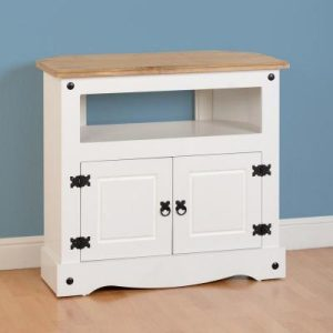 Corona White / Distressed Pine Corner Tv Stand