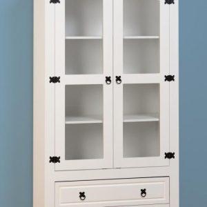Corona White / Distressed Pine Glass Display Unit