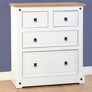 Corona White / Distressed Pine 2 + 2 Drawer Chest *BRAND NEW*