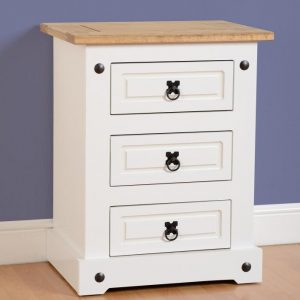 Corona White / Distressed Pine 3 Draw Bedside