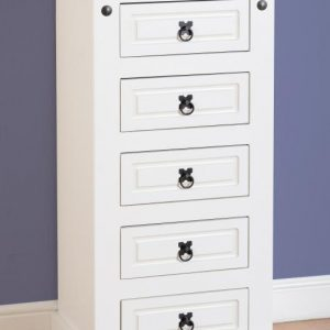 Corona White / Distressed Pine 5 Drawer Narrow Chest *BRAND NEW*