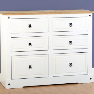 Corona White / Distressed Pine 6 Drawer Chest