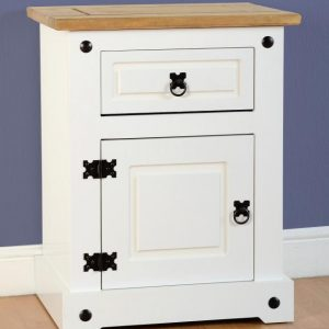 Corona White / Distressed Pine 1 Draw 1 Door Bedside *BRAND NEW*