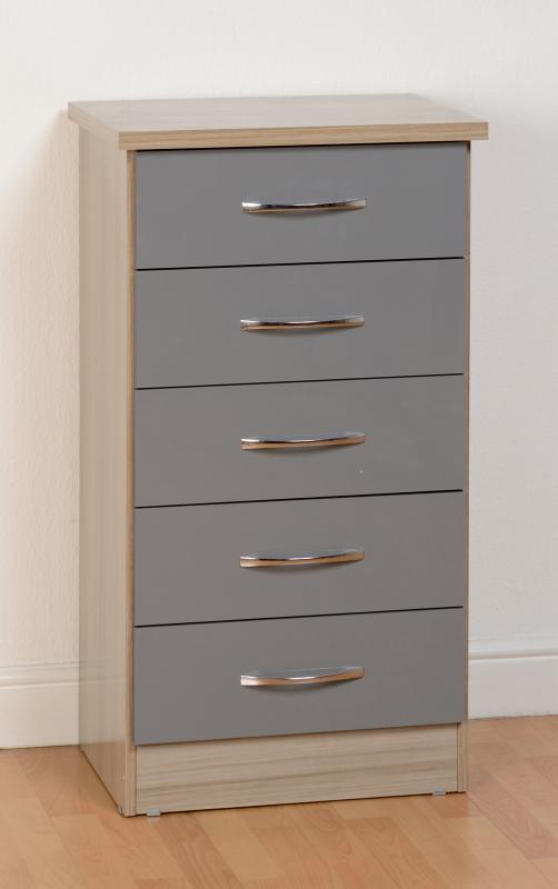 Nevada Gloss 5 Drawer Chest - Grey & Oyster Available