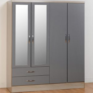 Nevada Gloss 4 Door 2 Draw Wardrobe - 2 Colours Available
