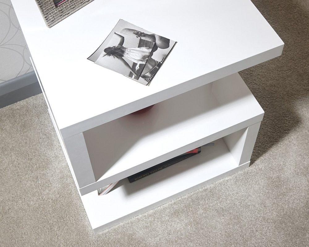 Polar Gloss White Led Lamp Table One Stop Furniture Online