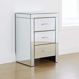 Venetian Mirrored 3 Draw Bedside