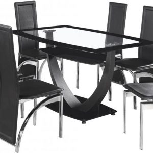 Hanley Black Glass Dining Set With 6 Chairs