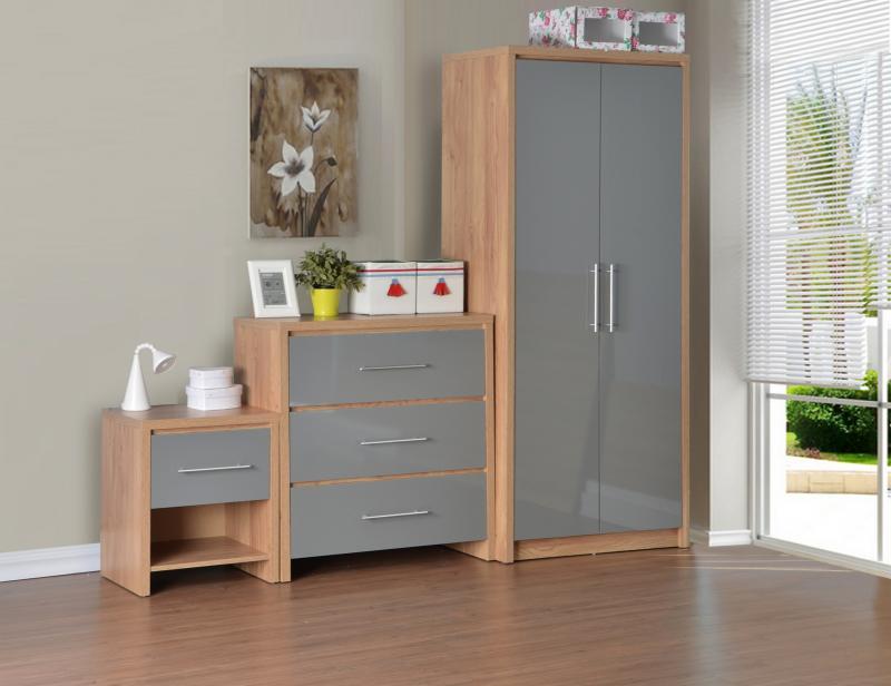 Seville Grey Gloss Bedroom Set - Wardrobe , Drawers, Bedside