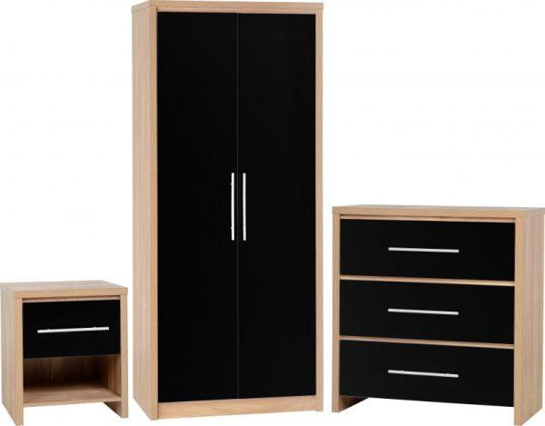 Seville Black Gloss Bedroom Set