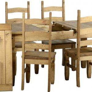 Corona Extending Distressed Pine Dining Set (1+6)