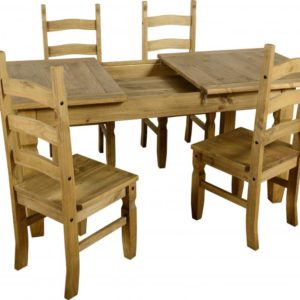 Corona Extending Distressed Pine Dining Set (1+4)