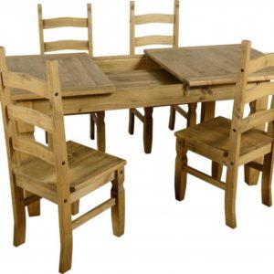 Corona Extending Distressed Pine Dining Set (1+4)