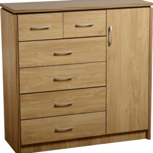 Charles Oak Effect 1 door + 6 Drawer Chest
