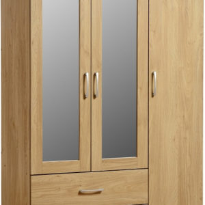 Charles Oak Effect 3 Door 2 Draw Mirrored Wardrobe