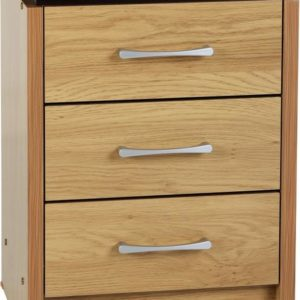 Charles Oak Effect 3 Drawer Bedside