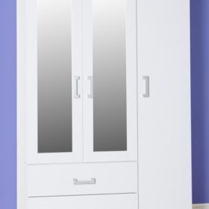Charley White 3 Door 2 Draw Mirrored Wardrobe *BRAND NEW*