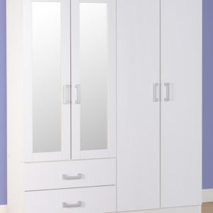 Charley White 4 Door 2 Draw Mirrored Wardrobe