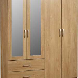 Charles Oak Effect 4 Door 2 Draw Mirrored Wardrobe