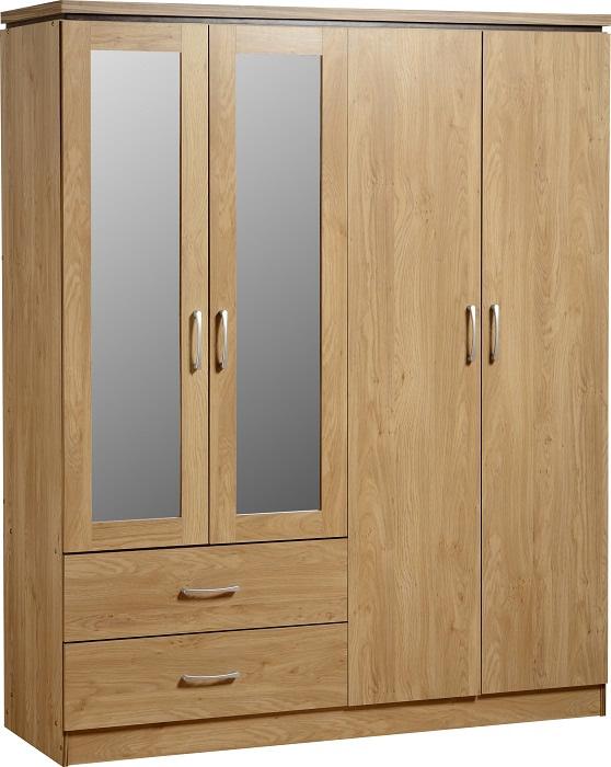 Charles Oak Effect 4 Door 2 Draw Mirrored Wardrobe
