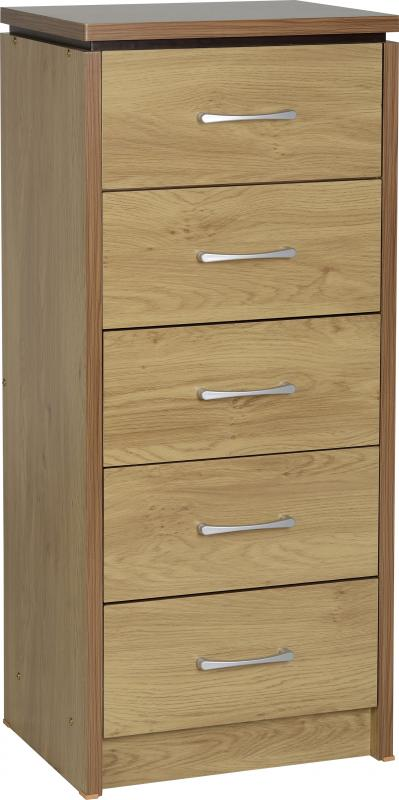 Charles Oak Effect 5 Drawer Narrow Chest