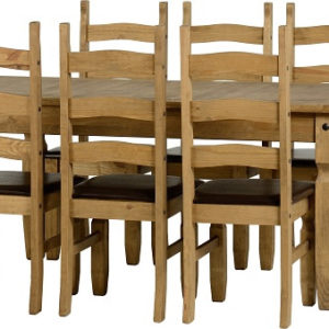 Corona Extending Distressed Pine Dining Set (1+8)