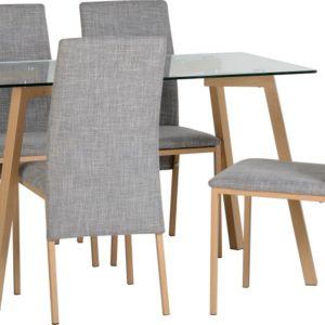 Morton Glass Dining Set With 4 Fabric Grey Chairs