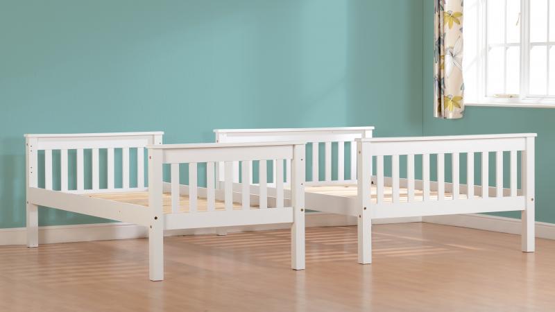 Neptune White Triple Sleeper Wooden Split Bunk Bed Frame
