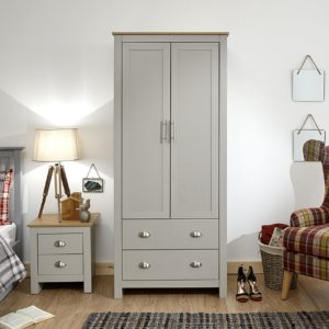 Lancaster Grey 2 Door 2 Drawer Wardrobe