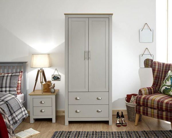 Lancaster Grey 2 Door 2 Drawer Wardrobe