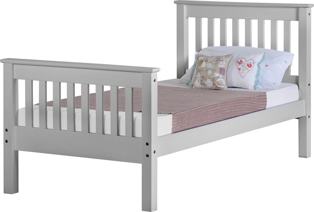 Grey Wooden High End Bed Frame   2 Sizes Available